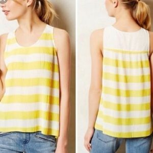 Anthropologie Maeve Yellow White Pleated Blouse